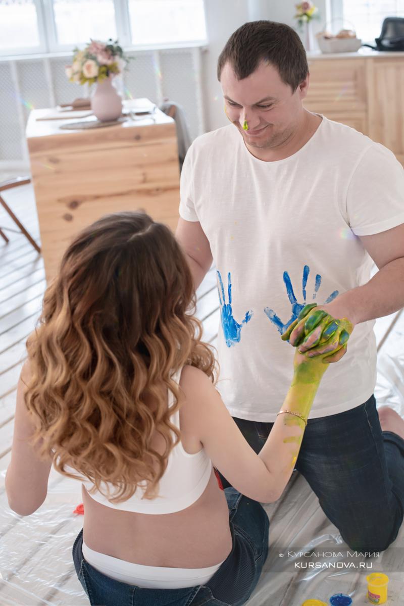 Фотосессия с красками беременность