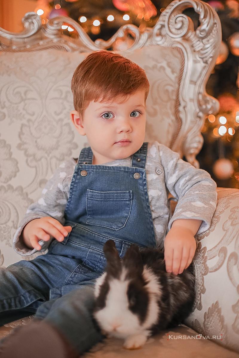 Новогодняя фотосессия с ребенком в студии на красивом кресле около елки.