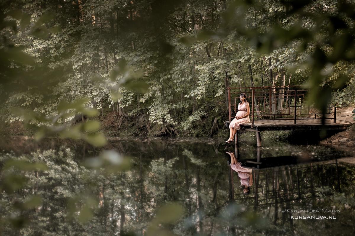 Беременность лето природа, озеро, пруд