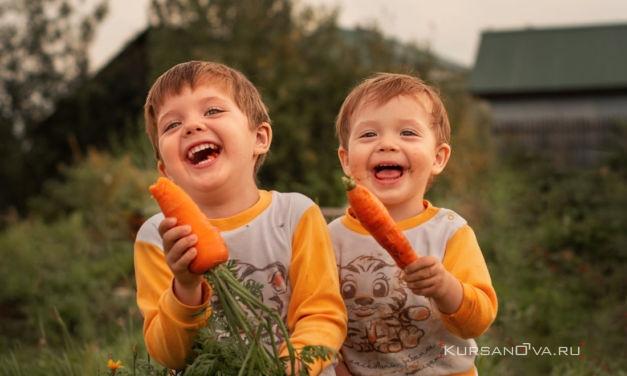 Детская фотосессия с морковками