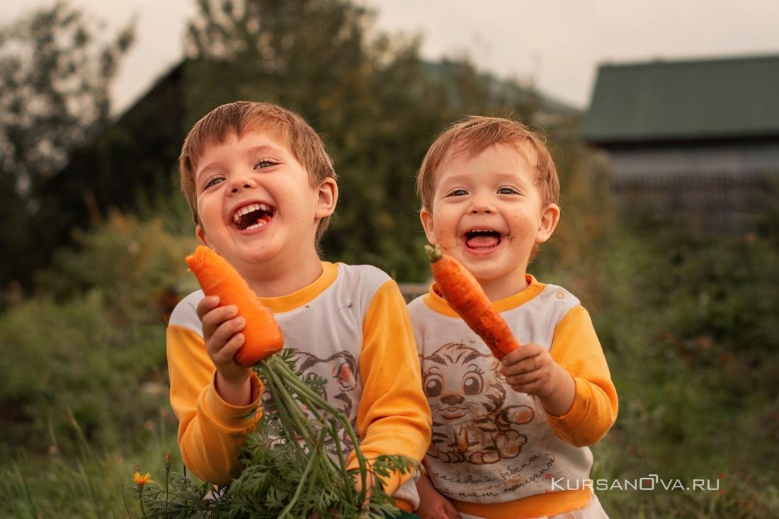 Весёлые мальчики с морковками на фотосессии летом в Нижнем Новгороде контровый сидят с морковками на бревне и смеются
